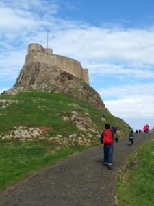 Walking up to Lindisfarne Castle
